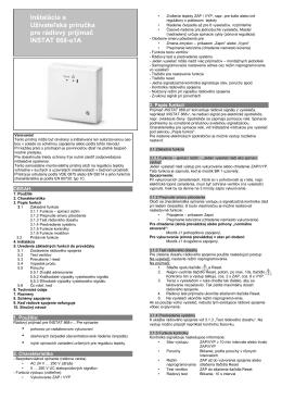 Inštalácia a Užívateľská príručka pre rádiový