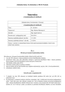 Smernica Š - 26/2014 o komisionálnych