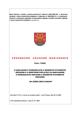 VZN 7/2008 o nakladaní s komunálnym a drobným