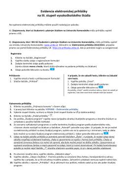Evidencia elektronickej prihlášky