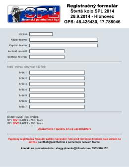 Registračný formulár Štvrté kolo SPL 2014 28.9.2014