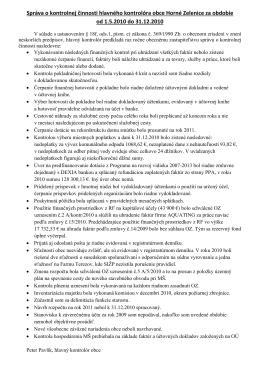 Správa o činnosti 2010