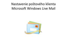 Nastavenie poštového klienta Microsoft Windows Live Mail