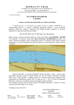 plavebné opatrenie č. 06/2015 o zmene vytýčenia