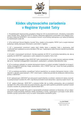 Kódex ubytovacieho zariadenia v Regióne Vysoké