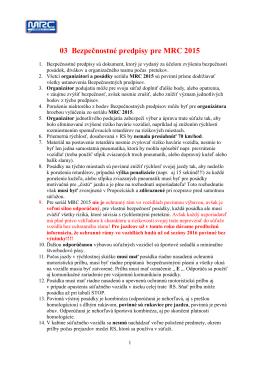 Bezpečnostné predpisy MRC 2015