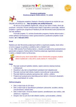Grantové podmienky - Nadácia pre deti Slovenska