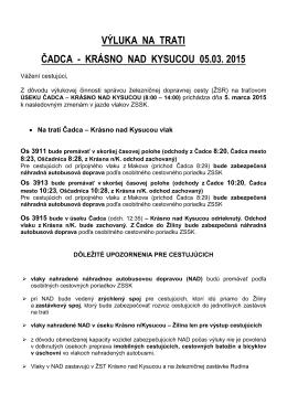 výluka na trati čadca - krásno nad kysucou 05.03. 2015