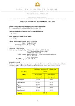 Informácie pre uchádzačov o bakalárske študijné programy na PF KU