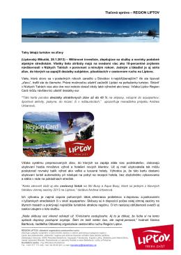 Tlačová správa – REGION LIPTOV