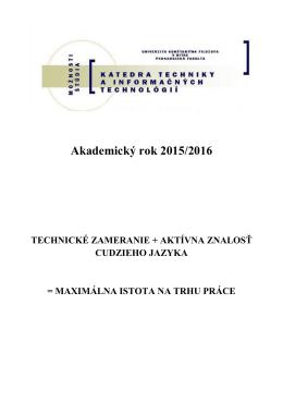 Technického vzdelávania - Katedra techniky a informačných