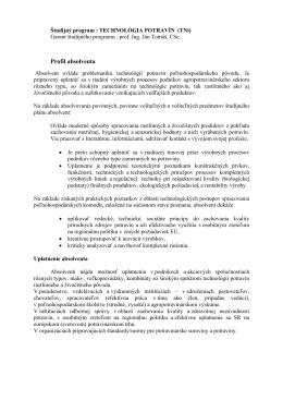 TECHNOLÓGIA POTRAVÍN (TNi)