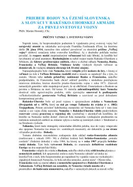 Stiahnuť - Veľká vojna a územie Slovenska