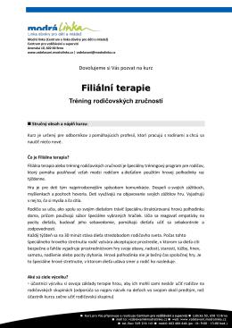 Filiální terapie - Vzdělávání Modrá linka