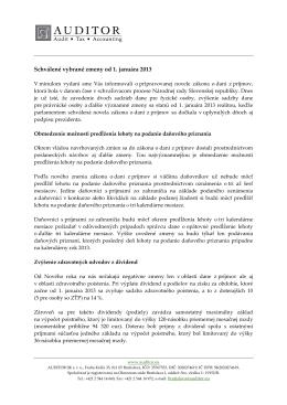 Schválené vybrané zmeny od 1. januára 2013