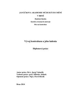 Vývoj kontrabasu a jeho ladenia - IS JAMU