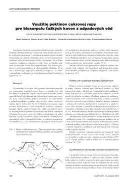 Využitie pektínov cukrovej repy pre biosorpciu ťažkých kovov z