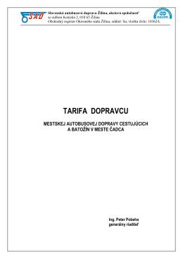 Tarifa MHD - Čadca - Slovenská autobusová doprava Žilina a. s.