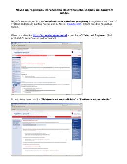 Návod na registráciu zaručeného elektronického podpisu na