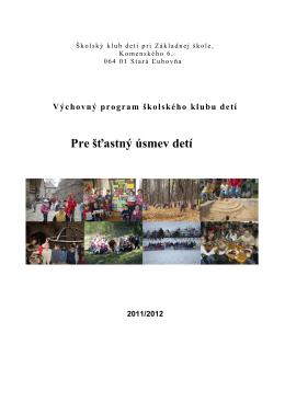 Výchovný program školského klubu detí