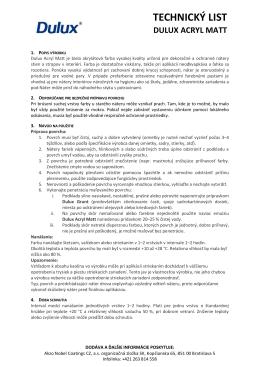 technický list dulux acryl matt