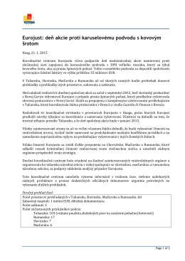 Eurojust: deň akcie proti karuselovému podvodu s