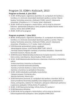 Program 15. EDBH v Košiciach, 2013