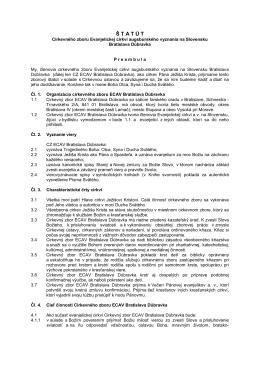 Štatút CZ ECAV Bratislava Dúbravka