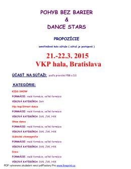 21.-22.3. 2015 VKP hala, Bratislava ÚČASŤ NA SÚŤAŽI