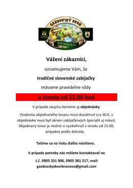 v stredu od 11.00 hod - gazdovskydvorbranovo.sk