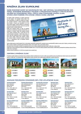 KNIŽKA ZLIAV EUROLINE - Rodinné domy EUROLINE