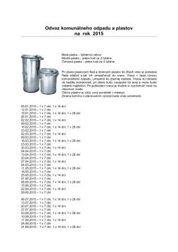 Odvoz komunálneho odpadu a plastov na rok 2015