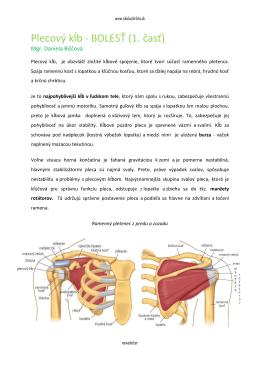 Plecový kĺb - BOLESŤ (1. časť)