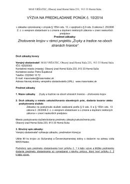 VÝZVA NA PREDKLADANIE PONÚK č. 10/2014