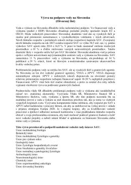 Výzva na podporu vedy na Slovensku (Otvorený list)