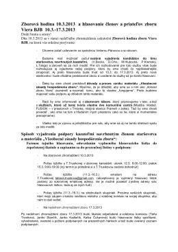 Zborová hodina 10.3.2013 a hlasovanie členov a