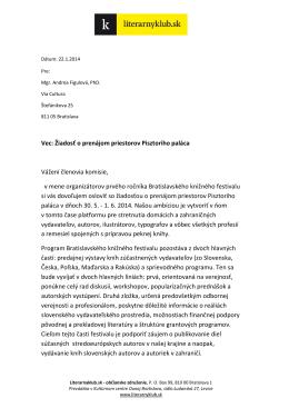Vec: Žiadosť o prenájom priestorov Pisztoriho paláca