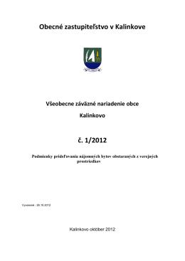 Obecné zastupiteľstvo v Kalinkove č. 1/2012