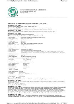 Uznesenie Prezídia Rady SRZ 2012