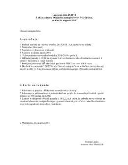 Uznesenie a Zapisnica z 18. zasadnutia Obecneho