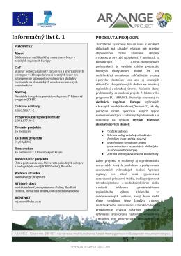 Informačný list č. 1