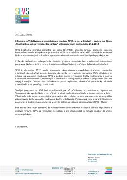 Informácie o vzdelávacom a konzultačnom stredisku SEVS v