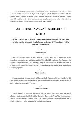 VZN o určení výšky dotácia na CVČ, MŠ,ŠKD