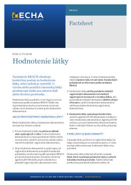Informačný leták o hodnotení látok - ECHA