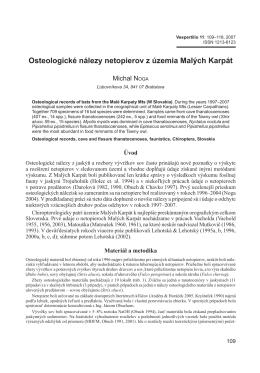 Osteologické nálezy netopierov z územia Malých Karpát