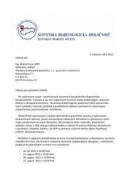 V Ľubochni 28.6.2012 Vážený pán Ing. Marcel Forai, MPH