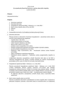 Z á z n a m Zo zasadnutia finančnej komisie a správy