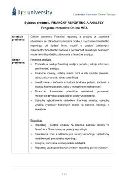 Sylabus predmetu Finančný reporting a analýzy
