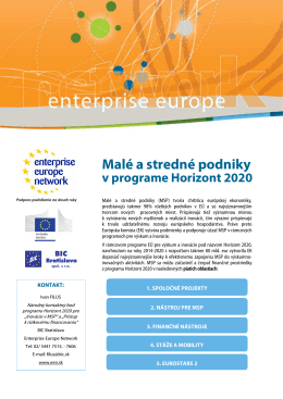 EEN - MSP v H2020 - Enterprise Europe Network