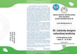 Pozvánka na XV. Lekársky kongres naturálnej medicíny